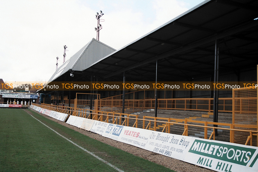 Covered Terrace at Barnet FC Football Ground, Underhill Stadium, Barnet, London, pictured on 10th February 1996