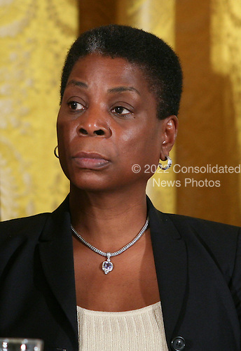 Xerox Chairman and CEO Ursula Burns, the first African-American woman CEO to head a S&P 100 company, listens as United States President Barack Obama delivers remarks at the President's Export Council meeting in the East Room of the White House in Washington, D.C. on Thursday, September 16, 2010.  Others on hand for the meeting included Boeing CEO James McNerney Jr., U.S. Secretary of Agriculture Tom Vilsack, US Secretary of Commerce Gary Locke, Senior Advisor Valerie Jarrett, and other business leaders.  .Credit: Gary Fabiano / Pool via CNP