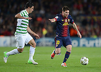 FUSSBALL   INTERNATIONAL   CHAMPIONS LEAGUE   2012/2013      FC Barcelona - Celtic FC Glasgow       23.10.2012 Lionel Messi (re, Barca) gegen Biram Kayal (Celtic)