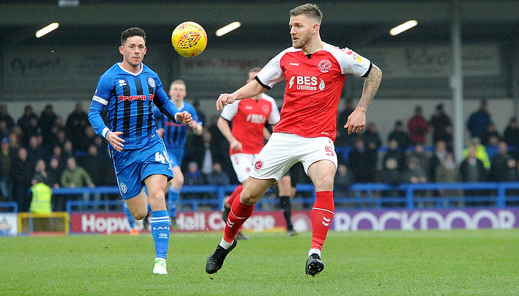 Rochdale's Ian Henderson battles with Fleetwood Town's Ashley Eastham<br /> <br /> Photographer Hannah Fountain/CameraSport<br /> <br /> The EFL Sky Bet League One - Rochdale v Fleetwood Town - Saturday 19 January 2019 - Spotland Stadium - Rochdale<br /> <br /> World Copyright &copy; 2019 CameraSport. All rights reserved. 43 Linden Ave. Countesthorpe. Leicester. England. LE8 5PG - Tel: +44 (0) 116 277 4147 - admin@camerasport.com - www.camerasport.com