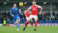 Rochdale's Ian Henderson battles with Fleetwood Town's Ashley Eastham<br /> <br /> Photographer Hannah Fountain/CameraSport<br /> <br /> The EFL Sky Bet League One - Rochdale v Fleetwood Town - Saturday 19 January 2019 - Spotland Stadium - Rochdale<br /> <br /> World Copyright © 2019 CameraSport. All rights reserved. 43 Linden Ave. Countesthorpe. Leicester. England. LE8 5PG - Tel: +44 (0) 116 277 4147 - admin@camerasport.com - www.camerasport.com
