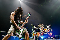 Guitarist Robert Trujillo performs with Metallica at the Scottrade Center in St. Louis, Mo. on November 17, 2008.