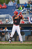 Batavia Muckdogs right fielder Zachary Daly (38) at bat during a game against the West Virginia Black Bears on June 24, 2017 at Dwyer Stadium in Batavia, New York.  The game was suspended in the bottom of the third inning and completed on June 25th with West Virginia defeating Batavia 6-4.  (Mike Janes/Four Seam Images)