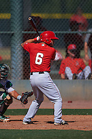 Los Angeles Angels Tim Arakawa (6) during an instructional league game against the Oakland Athletics on October 9, 2015 at the Tempe Diablo Stadium Complex in Tempe, Arizona.  (Mike Janes/Four Seam Images)