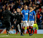 29.11.18 Rangers v Villarreal: Scott Arfield and the Rangers coaches celebrate at full time
