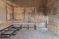 The Triclinium, probably used for lunches, a large room open to the garden, with walls painted on a white background with figures and plants and ornamental borders and floating figures of the seasons, in the Casa dell Efebo, or House of the Ephebus, Pompeii, Italy. On the right is the fresco panel of Helen and Menelaus. This room is decorated in the Fourth Style of Roman wall painting, 60-79 AD, a complex narrative style. On the floor is a rare example of a coloured marble and glass mosaic patterned floor. This is a large, sumptuously decorated house probably owned by a rich family, and named after the statue of the Ephebus found here. Pompeii is a Roman town which was destroyed and buried under 4-6 m of volcanic ash in the eruption of Mount Vesuvius in 79 AD. Buildings and artefacts were preserved in the ash and have been excavated and restored. Pompeii is listed as a UNESCO World Heritage Site. Picture by Manuel Cohen