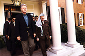 United States President Bill Clinton and Palestinian Authority Chairman Arafat at The Washington Summit at Wye River, Maryland on Saturday, October 17, 1998..Mandatory Credit: White House via CNP