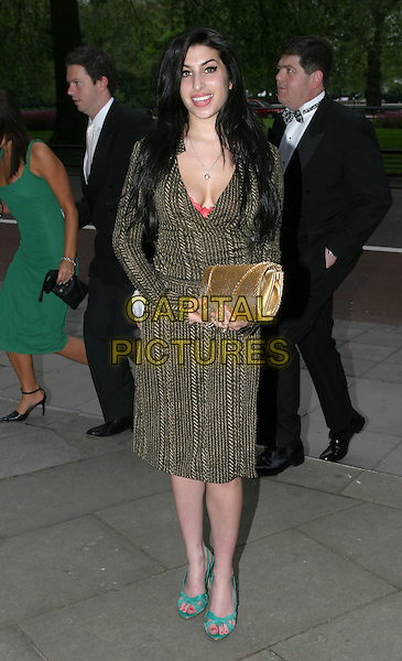 AMY WINEHOUSE.Sony Radio Academy Awards.full length, full-length, cleavage, plunging neckline, tweed coat, jacket, green sandals, gold handbag, clutch purse.www.capitalpictures.com.sales@capitalpictures.com.© Capital Pictures.