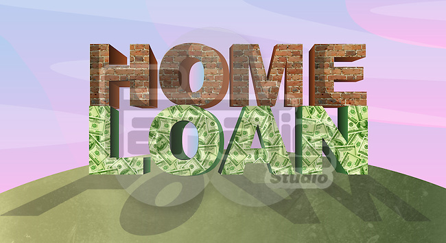 Bricks and paper currency representing the concept of home loan