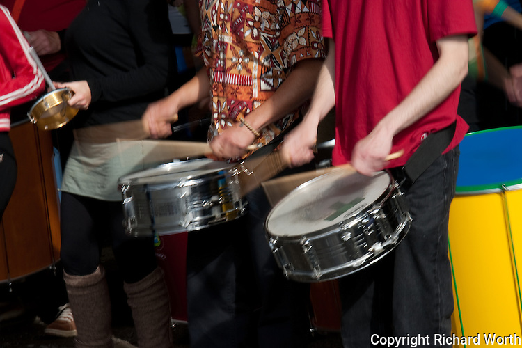 """No model release - editorial use only.  These sticks and snares provided audible, adrenaline-pumping inspiration to participants in the """"Avenue of the Giants"""" run in May 2009."""