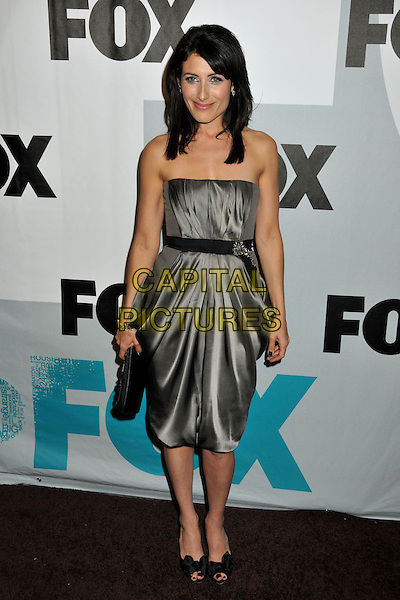 LISA EDELSTEIN.FOX All-Star Winter 2009 TCA Party at My House Night Club, Hollywood, California, USA..January 13th, 2009.full length black grey gray silver dress silk satin waist belt brooch clutch bag strapless .CAP/ADM/BP.©Byron Purvis/AdMedia/Capital Pictures.