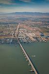 Aerial over the Antioch Bridge crossing the San Joaquin River, Antioch, California