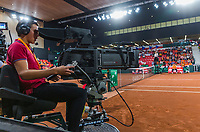 The Hague, The Netherlands, September 17, 2017,  Sportcampus , Davis Cup Netherlands - Chech Republic, TV camera<br /> Photo: Tennisimages/Henk Koster