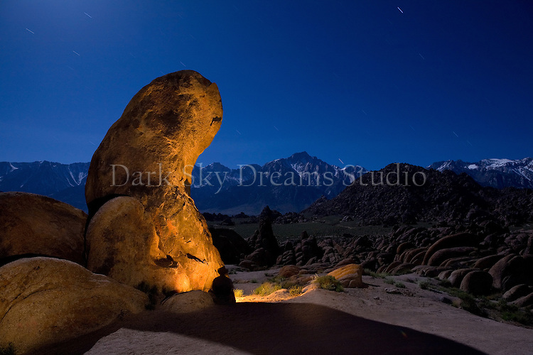 Nightfall at the Gene Autry rock formation in the Alabama Hills BLM Recreation Area, near Lone Pine, California