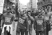 - Milan, workers of Innocenti - Maserati cars factory in demonstration against the dismissals for the plant closing (April 1992)....- Milano, gli operai della fabbrica di automobili Innocenti - Maserati in manifestazione contro i licenziamenti per la chiusura dello stabilimento (aprile 1992)