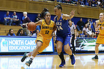 08 November 2015: Saint Leo's Gabby Ortiz (12) and Duke's Faith Suggs (14). The Duke University Blue Devils hosted the Saint Leo University Lions at Cameron Indoor Stadium in Durham, North Carolina in a 2015-16 NCAA Women's Basketball Exhibition game. Duke won the game 116-33.