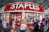 A Staples office supply store in New York on Tuesday, June 29, 2017. Private equity firm Sycamore Partners is purchasing the office supply retailer in a $6.9 billion deal.. (© Richard B. Levine)