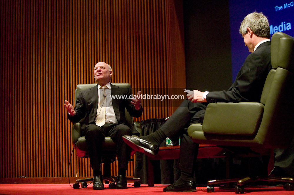 7 February 2007 - New York City, NY - Barry Diller (L), Chairman and CEO of IAC/InterActiveCorp, Chairman of Expedia, speaks at the 2007 Media Summit in New York City, USA, 7 February 2007.