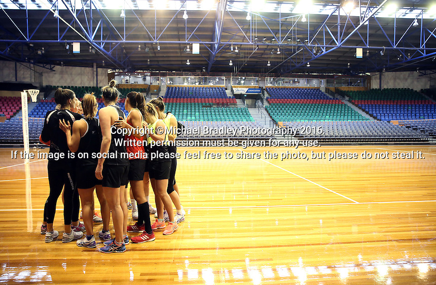 09.10.2016 Silver Ferns in action during training at the Silver Dome in Launceston in Australia. Mandatory Photo Credit ©Michael Bradley.