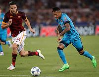Calcio, Champions League, Gruppo E: Roma vs Barcellona. Roma, stadio Olimpico, 16 settembre 2015.<br /> FC Barcelona&rsquo;s Neymar, right, is challenged by Roma&rsquo;s Kostas Manolas during a Champions League, Group E football match between Roma and FC Barcelona, at Rome's Olympic stadium, 16 September 2015.<br /> UPDATE IMAGES PRESS/Isabella Bonotto