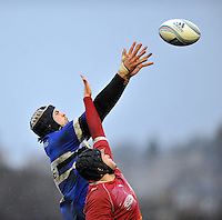 Dave Attwood rises high to win lineout ball. Amlin Challenge Cup match, between Bath Rugby and Agen on January 12, 2013 at the Recreation Ground in Bath, England. Photo by: Patrick Khachfe / Onside Images