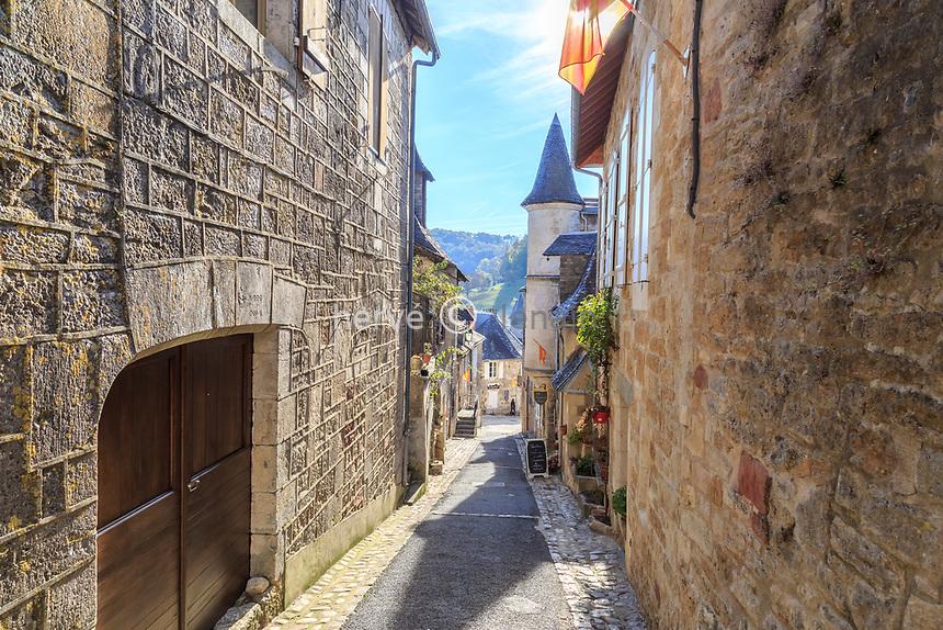 France, Correze, Turenne, labelled Les Plus Beaux Villages de France (The Most Beautiful Villages of France), the Rue Droite // France, Corrèze (19), Turenne, labellisé Les Plus Beaux Villages de France, la rue Droite
