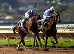 AUG 22: Harvest Moon, runs down Secret Keeper to win the Grade III Torrey Pines stakes with jockey Flavien Prat aboard, in Del Mar, California on August 22, 2020. Evers/Eclipse Sportswire/CSM