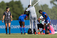 Bradenton, FL - Sunday, June 10, 2018: Referee, Haiti staff during a U-17 Women's Championship match between the United States and Haiti at IMG Academy.  USA defeated Haiti 3-2 to advance to the finals.