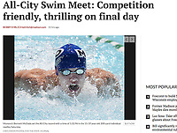 Monona Swim and Dive Club's Bennett McDade takes first place in the 15-19 year-old men's 200-yard individual medley. McDade sets an All-City record with a time of 1:52.96, during the 2017 All-City Swim Championship Meet on Saturday, 7/29/17, at the Maple Bluff Country Club pool | Article front page Wisconsin State Journal Sports 7/30/17 and online at http://host.madison.com/wsj/sports/high-school/swimming/all-city-swim-meet-competition-friendly-thrilling-on-final-day/article_5bf6400d-4cea-5e0f-9454-3f4db24ac8cc.html