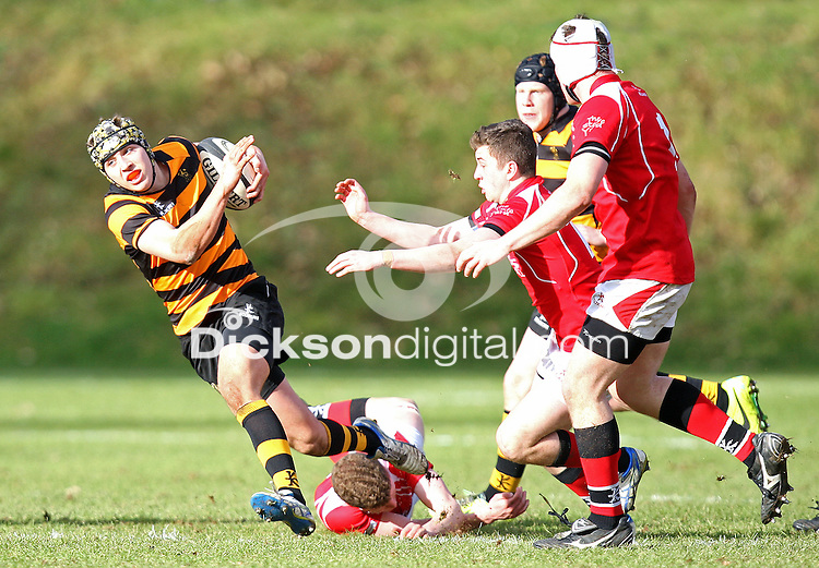SCHOOLS CUP 2015  | Saturday 7th February 2015<br /> <br /> Lewis McNamara during the third round of the 2015 Ulster Schools Cup between RBAI and Regent House at Osborne Park, Belfast.<br /> <br /> Picture credit: John Dickson / DICKSONDIGITAL