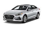 2018 Hyundai Sonata Limited 4 Door Sedan angular front stock photos of front three quarter view