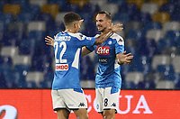 1st August 2020; Stadio San Paolo, Naples, Campania, Italy; Serie A Football, Napoli versus Lazio; Fabian Ruiz of Napoli celebrates after scoring in the 9th minute for 1-0