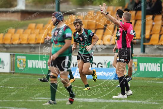 The Wyong Roos play Northern Lakes Warriors in Round 9 of the Reserve Grade Central Coast Rugby League Division at Morry Breen Oval on 2nd June, 2018 in Kanwal, NSW Australia. (Photo by Paul Barkley/LookPro)