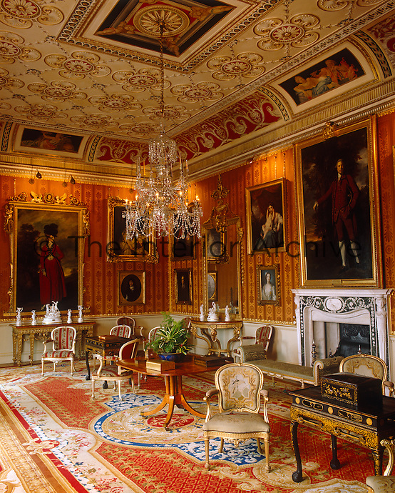 The Cinnamon Drawing Room is dominated by two Reynold's portraits of Lady Worsley and Edwin Lascelles, 1st Lord Harewood