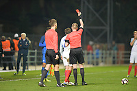 Andrew Cartwright Of England C receives red card during Slovakia Under-21 vs England C, International Challenge Trophy Football at Mestsky Stadion on 8th November 2017