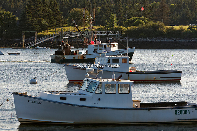 Work boats in the harbor at Port Clyde, St. George, Maine, USA