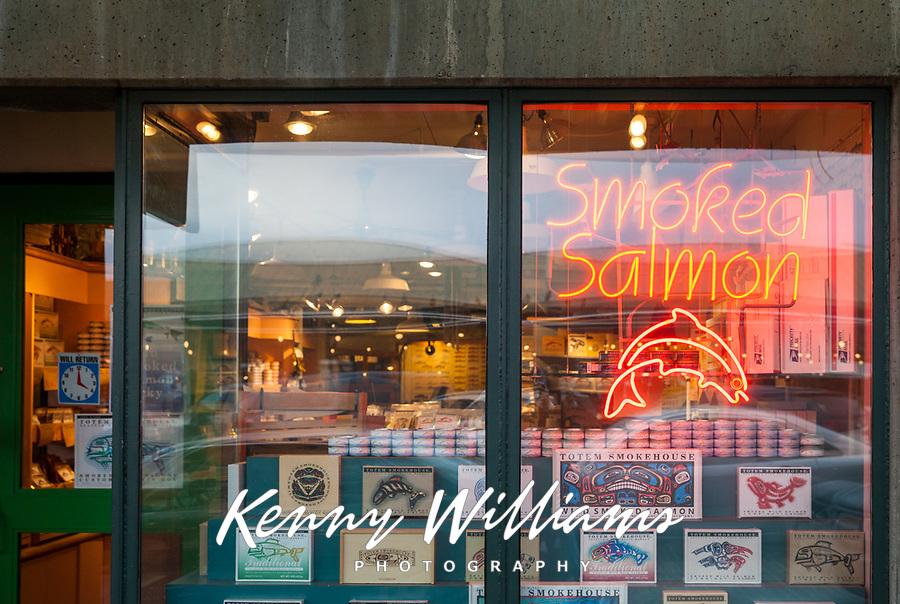 Smoked Salmon Storefront, Pike Place Market, Seattle, WA, USA.