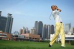 XIAN, CHINA - JUNE 2: Zhang Yi, age 44, a director for an insurance company with 200 employees, plays golf at the Xian Country Club on June 2, 2007 in central Xian, China. Zhang is a member of the Communist Party since 20 years but is more interested in business than the party. He lives in an up-market security complex nearby. He belongs to the new elite in China. (Photo by Per-Anders Pettersson)...