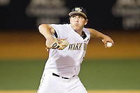 at Wake Forest Baseball Park on April 2, 2014 in Winston-Salem, North Carolina.  The Demon Deacons defeated the Panthers 10-6.  (Brian Westerholt/Four Seam Images)