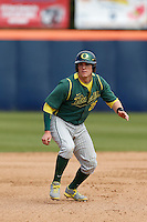Ryon Healy #25 of the Oregon Ducks runs the bases against the Cal State Fullerton Titans at Goodwin Field on March 3, 2013 in Fullerton, California. (Larry Goren/Four Seam Images)