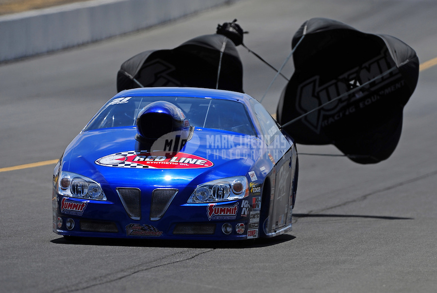 Jul. 30, 2011; Sonoma, CA, USA; NHRA pro stock driver Kurt Johnson during qualifying for the Fram Autolite Nationals at Infineon Raceway. Mandatory Credit: Mark J. Rebilas-