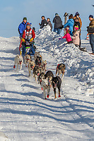 Marcelle Fressineau on Cordova St. hill during the Anchorage start day of Iditarod 2018 on Cordova St. hill during the Anchorage start day of Iditarod 2019
