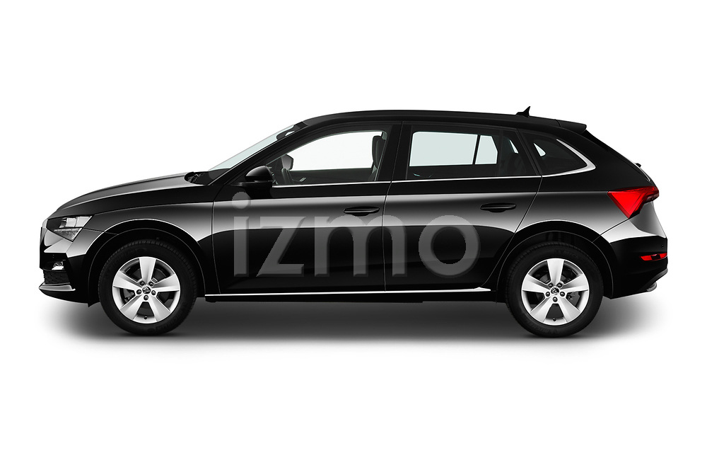 Car driver side profile view of a 2019 Skoda Scala  Ambition 5 Door Hatchback