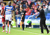 9th September 2017, Madejski Stadium, Reading, England; EFL Championship football, Reading versus Bristol City; Taylor Moore of Bristol City smiles at Lee Johnson Manager for Bristol City