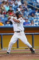 Lake County Captains Delvi Cid during a game vs. the Bowling Green Hot Rods at Classic Park in Eastlake, Ohio;  August 20, 2010.   Lake County defeated Bowling Green 5-3.  Photo By Mike Janes/Four Seam Images