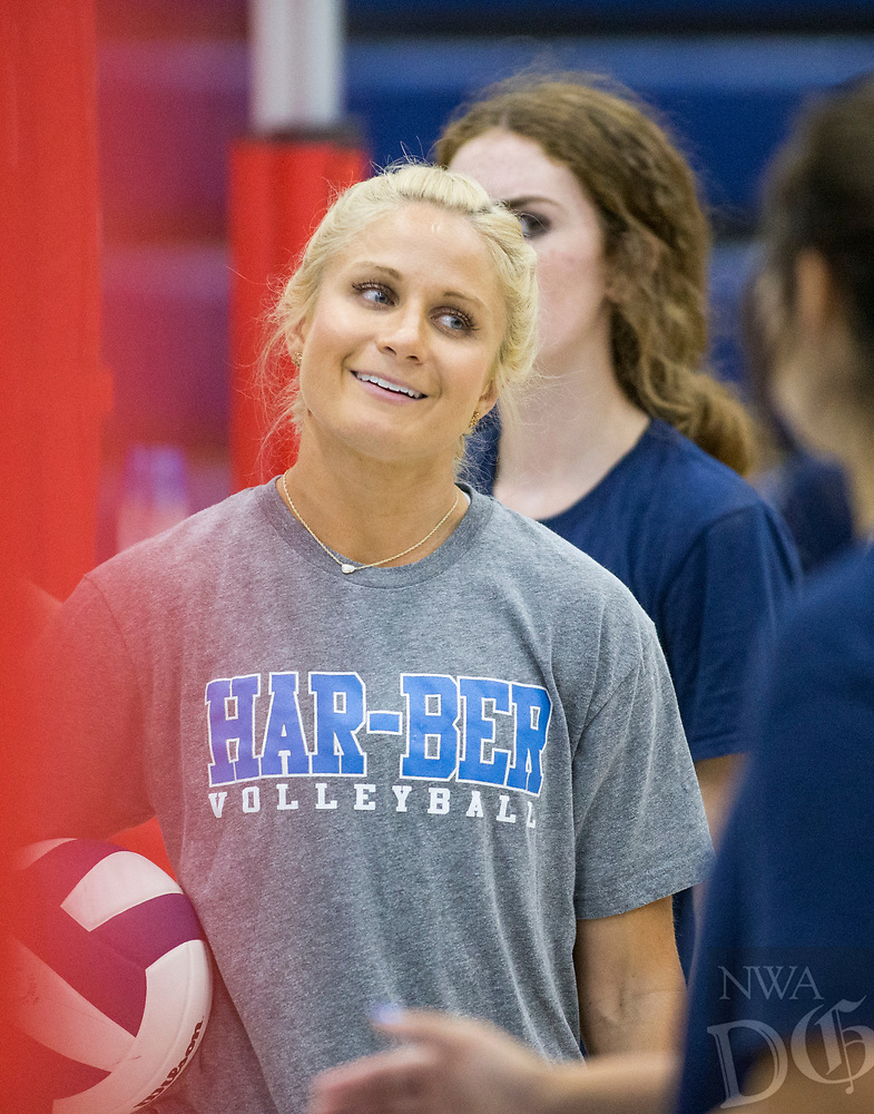 NWA Democrat-Gazette/BEN GOFF @NWABENGOFF<br /> Shyrah Schisler, Springdale Har-Ber coach, Thursday, Aug. 9, 2018, during volleyball practice at Wildcat Arena in Springdale.