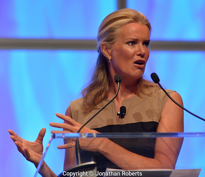 Katty Kay, BBC World News America Anchor and co-author of Womenomics, speaks during the American Chamber of Commerce Executives (ACCE) annual convention in Louisville, Kentucky.