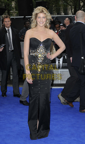 Francesca 'Cheska' Hull.The 'Men in Black 3' UK film premiere, Odeon Leicester Square cinema, Leicester Square, London, England..May 16th, 2012.MIB3 III full length black strapless dress hand on hip embellished jewel encrusted .CAP/CAN.©Can Nguyen/Capital Pictures.