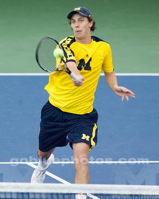 The University of Michigan men's tennis team beat TCU, 4-3, at the Varsity Tennis Center in Ann Arbor, Mich., on January 19, 2013.