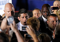 Republican vice presidential nominee Paul Ryan shakes hands with supporters during a campaign stop Thursday evening at the Crutchfield Corporation in Albemarle County, Va.